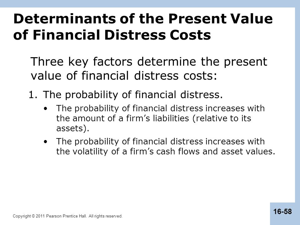 Copyright © 2011 Pearson Prentice Hall. All rights reserved. 16-58 Determinants of the Present Value of Financial Distress Costs Three key factors det