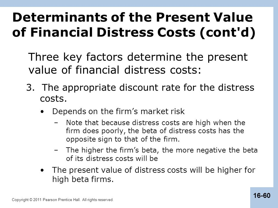 Copyright © 2011 Pearson Prentice Hall. All rights reserved. 16-60 Determinants of the Present Value of Financial Distress Costs (cont'd) Three key fa