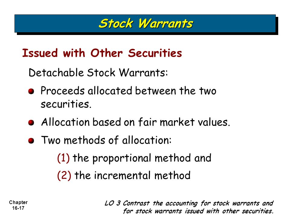 Chapter 16-17 Issued with Other Securities Stock Warrants LO 3 Contrast the accounting for stock warrants and for stock warrants issued with other sec