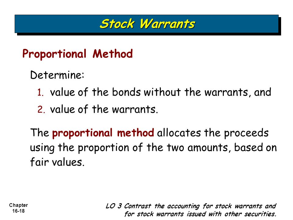 Chapter 16-18 Proportional Method Stock Warrants LO 3 Contrast the accounting for stock warrants and for stock warrants issued with other securities.
