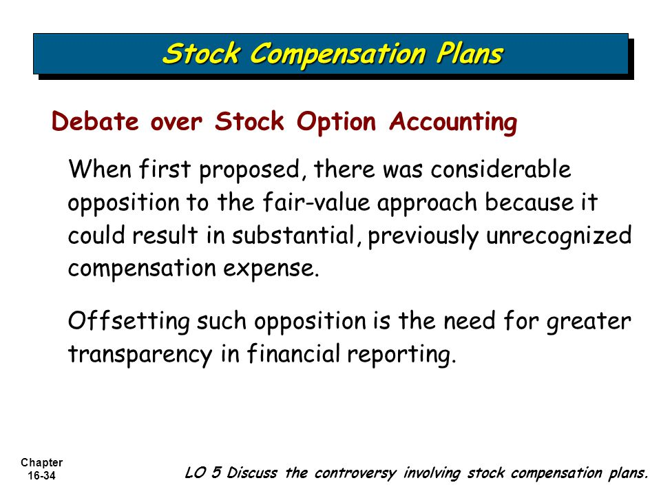 Chapter 16-34 Debate over Stock Option Accounting When first proposed, there was considerable opposition to the fair-value approach because it could r
