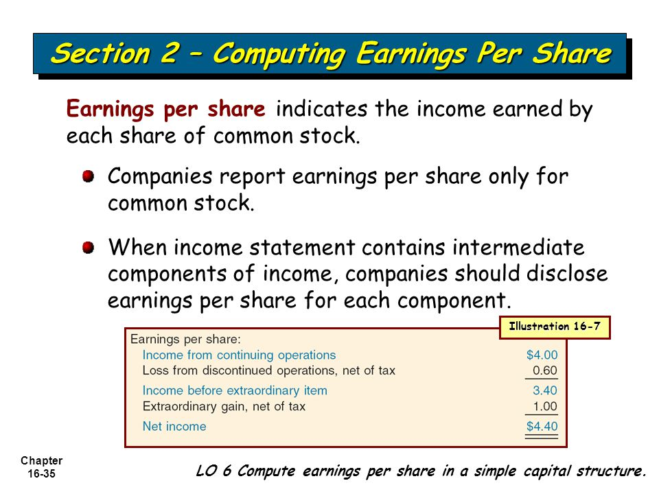 Chapter 16-35 Earnings per share indicates the income earned by each share of common stock. Companies report earnings per share only for common stock.