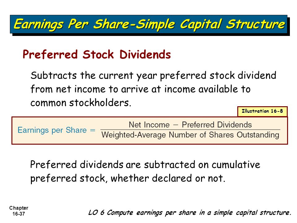 Chapter 16-37 LO 6 Compute earnings per share in a simple capital structure. Earnings Per Share-Simple Capital Structure Preferred Stock Dividends Sub