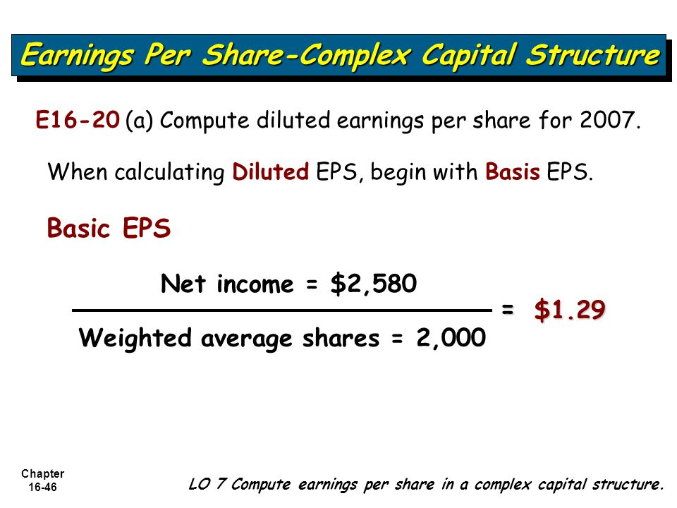 Chapter 16-46 LO 7 Compute earnings per share in a complex capital structure. Earnings Per Share-Complex Capital Structure E16-20 (a) Compute diluted