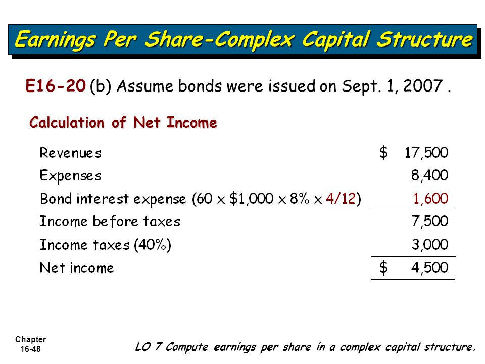 Chapter 16-48 LO 7 Compute earnings per share in a complex capital structure. Earnings Per Share-Complex Capital Structure Calculation of Net Income E