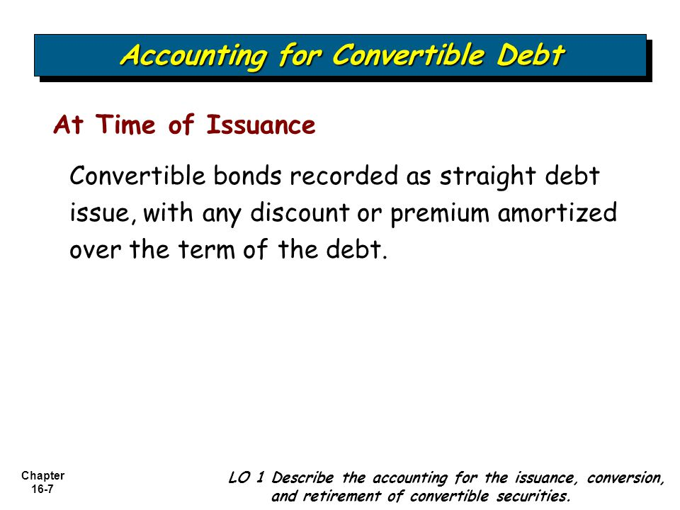 Chapter 16-7 At Time of Issuance Accounting for Convertible Debt LO 1 Describe the accounting for the issuance, conversion, and retirement of converti