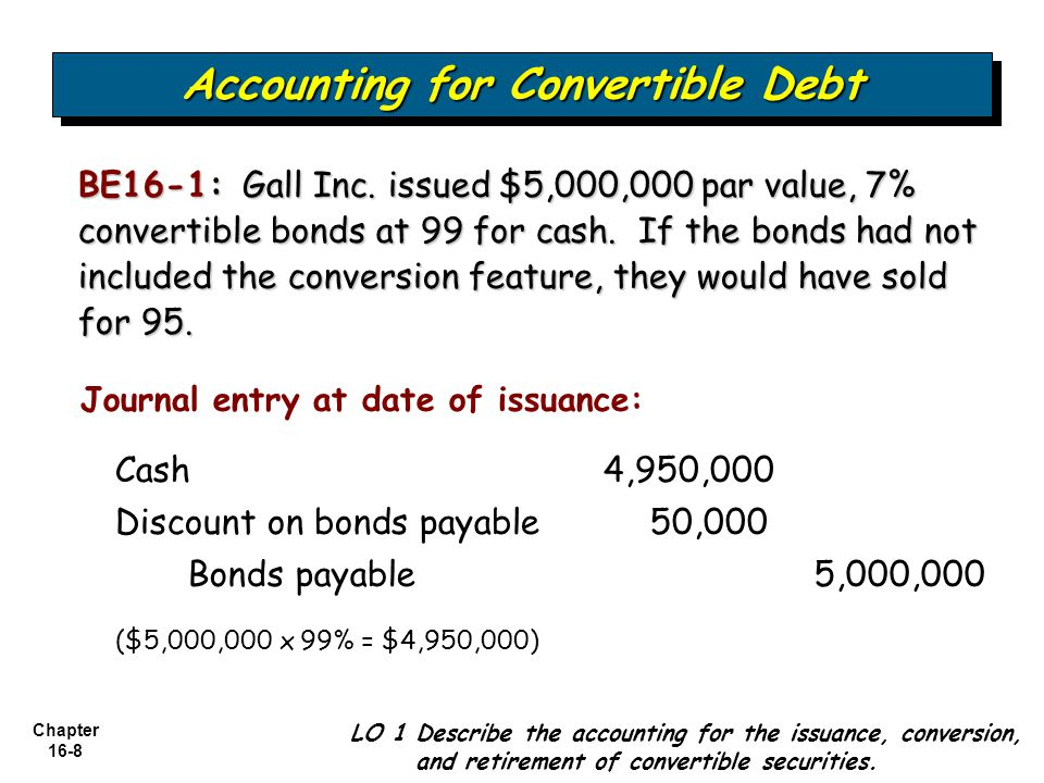 Chapter 16-9 At Time of Conversion Accounting for Convertible Debt LO 1 Describe the accounting for the issuance, conversion, and retirement of convertible securities.