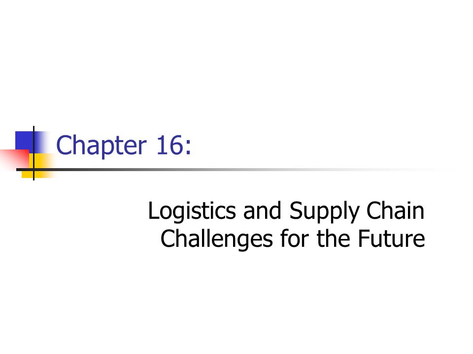 Chapter 16Management of Business Logistics, 7 th Ed.2 Learning Objectives - After reading this chapter, you should be able to do the following: Understand what is meant by strategy and how it applies to logistics and supply chain management.