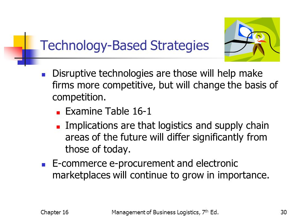 Chapter 16Management of Business Logistics, 7 th Ed.30 Technology-Based Strategies Disruptive technologies are those will help make firms more competi