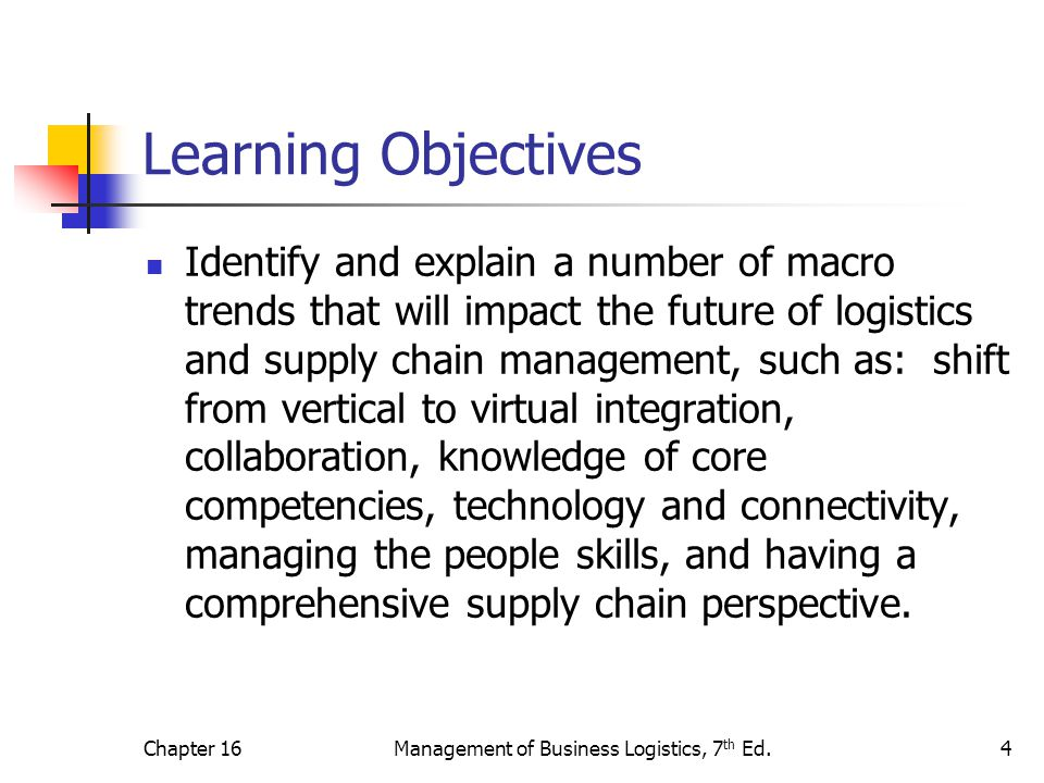 Chapter 16Management of Business Logistics, 7 th Ed.4 Learning Objectives Identify and explain a number of macro trends that will impact the future of