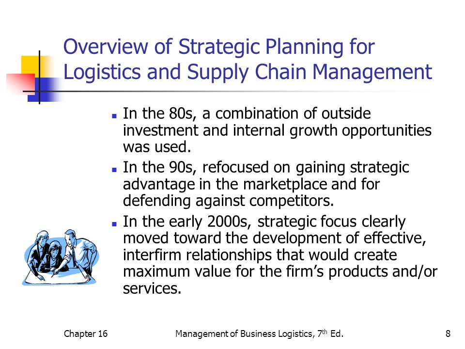 Chapter 16Management of Business Logistics, 7 th Ed.8 Overview of Strategic Planning for Logistics and Supply Chain Management In the 80s, a combinati