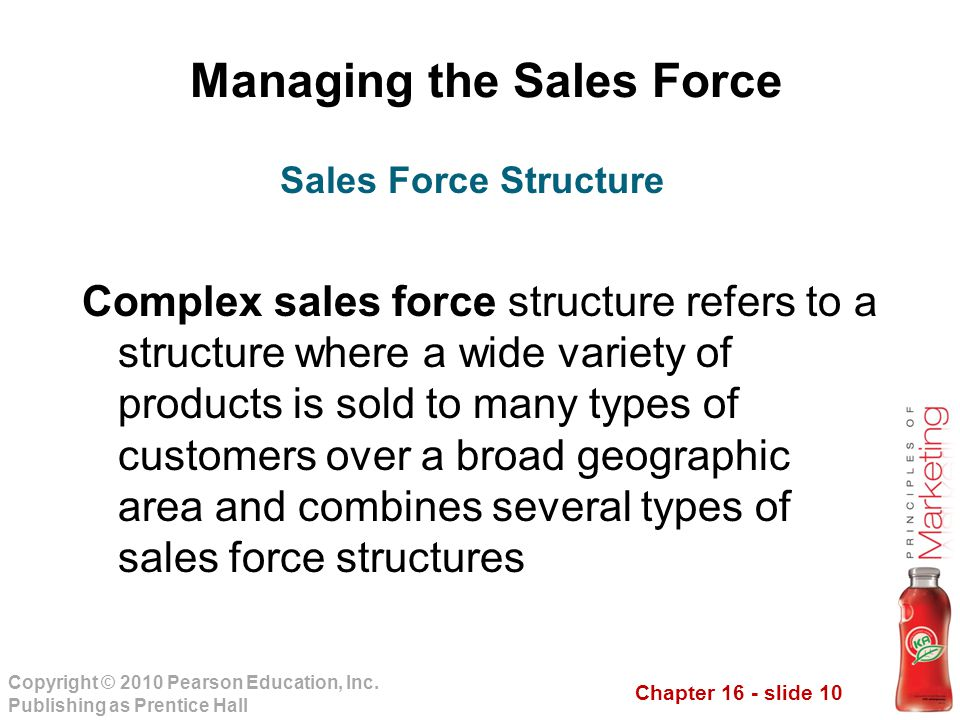 Chapter 16 - slide 10 Copyright © 2010 Pearson Education, Inc. Publishing as Prentice Hall Managing the Sales Force Complex sales force structure refe