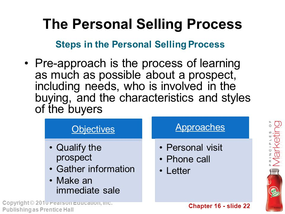Chapter 16 - slide 22 Copyright © 2010 Pearson Education, Inc. Publishing as Prentice Hall The Personal Selling Process Pre-approach is the process of