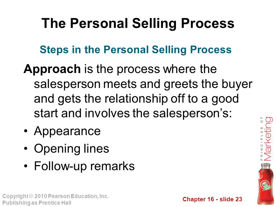 Chapter 16 - slide 23 Copyright © 2010 Pearson Education, Inc. Publishing as Prentice Hall The Personal Selling Process Approach is the process where