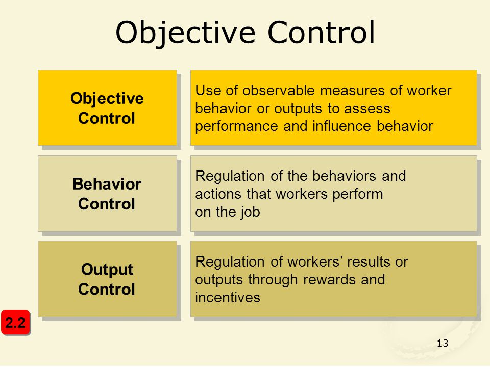 13 Objective Control Use of observable measures of worker behavior or outputs to assess performance and influence behavior Behavior Control Regulation of the behaviors and actions that workers perform on the job Output Control Regulation of workers' results or outputs through rewards and incentives Regulation of workers' results or outputs through rewards and incentives 2.2