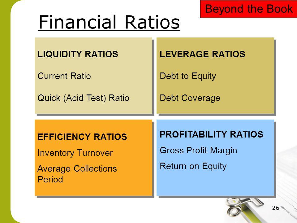 26 Financial Ratios LIQUIDITY RATIOS Current Ratio Quick (Acid Test) Ratio LIQUIDITY RATIOS Current Ratio Quick (Acid Test) Ratio LEVERAGE RATIOS Debt