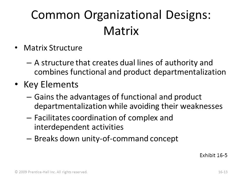Common Organizational Designs: Matrix Matrix Structure – A structure that creates dual lines of authority and combines functional and product departmentalization Key Elements – Gains the advantages of functional and product departmentalization while avoiding their weaknesses – Facilitates coordination of complex and interdependent activities – Breaks down unity-of-command concept Exhibit 16-5 © 2009 Prentice-Hall Inc.