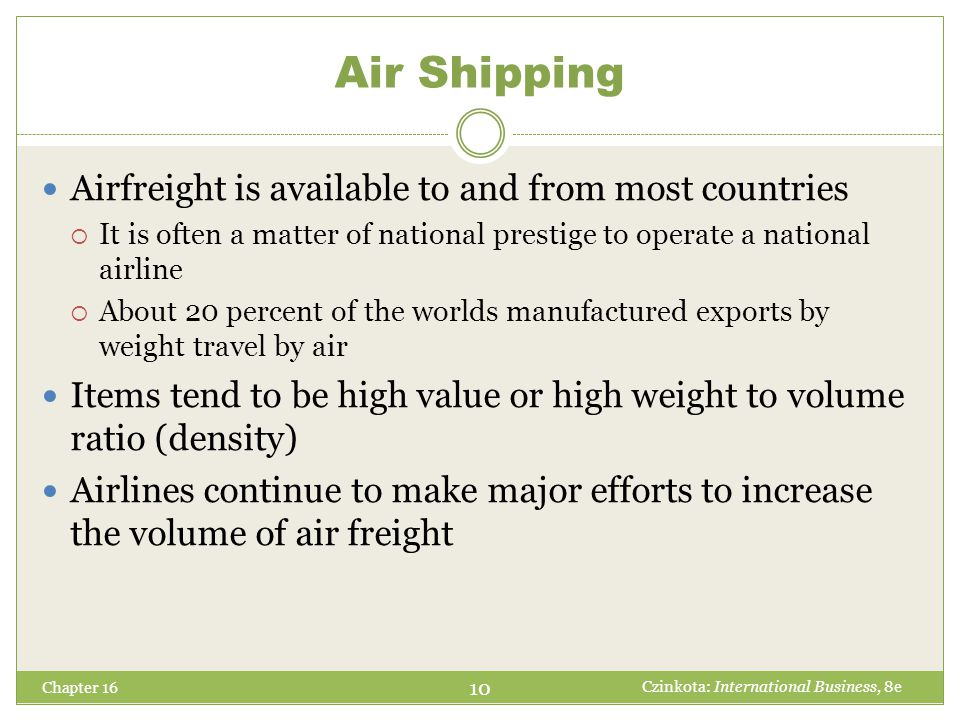 Selecting a Mode of Transport Chapter 16 Period between departure and arrival of carrier is longer for ocean than for air Perishable products require shorter transit times Significant reliability issues Vagarities of nature may impose delays Tracking becomes important Priced on the basis of both cost and value The manager must decide when the higher cost of airfreight can be justified Preferential policies by government International quota systems of transportation 11 Czinkota: International Business, 8e Transit Time Predictability Cost of Transportation Noneconomic Factors