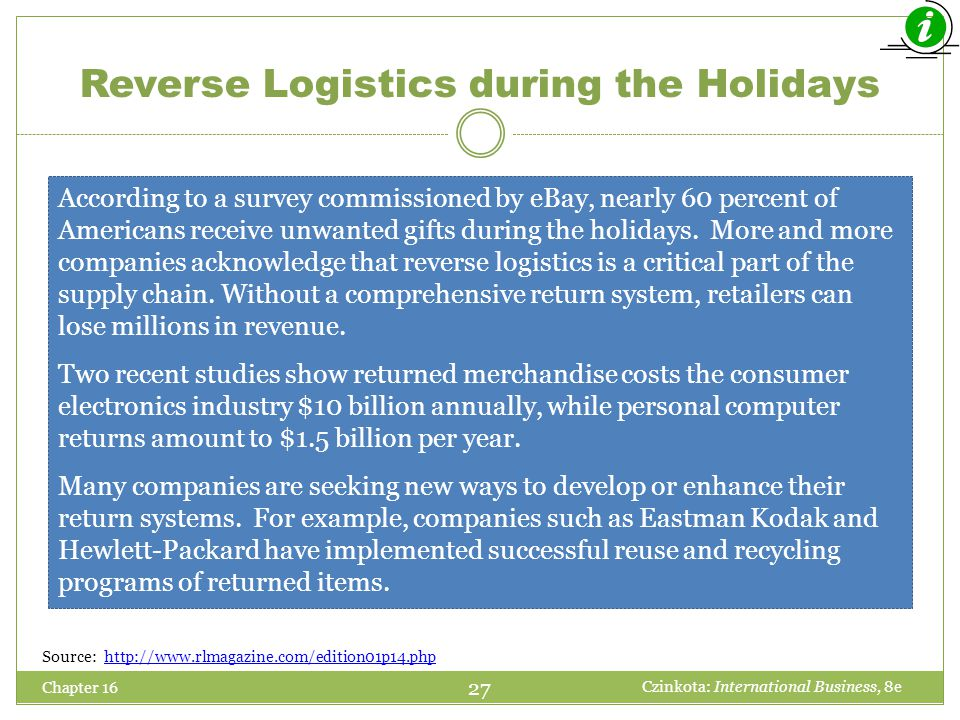 Reverse Logistics during the Holidays Chapter 16 According to a survey commissioned by eBay, nearly 60 percent of Americans receive unwanted gifts dur