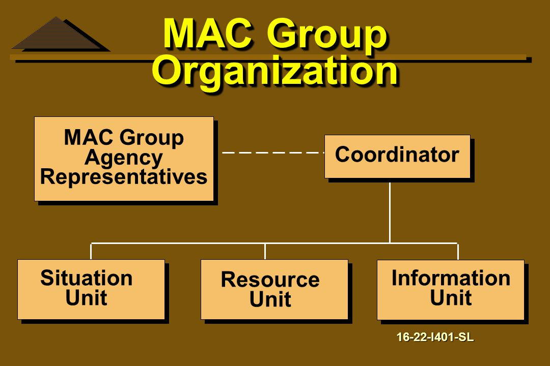 MAC Group Organization MAC Group Agency Representatives Coordinator Situation Unit Resource Unit Information Unit 16-22-I401-SL