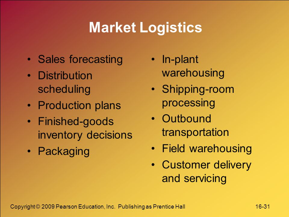 Copyright © 2009 Pearson Education, Inc. Publishing as Prentice Hall 16-31 Market Logistics Sales forecasting Distribution scheduling Production plans