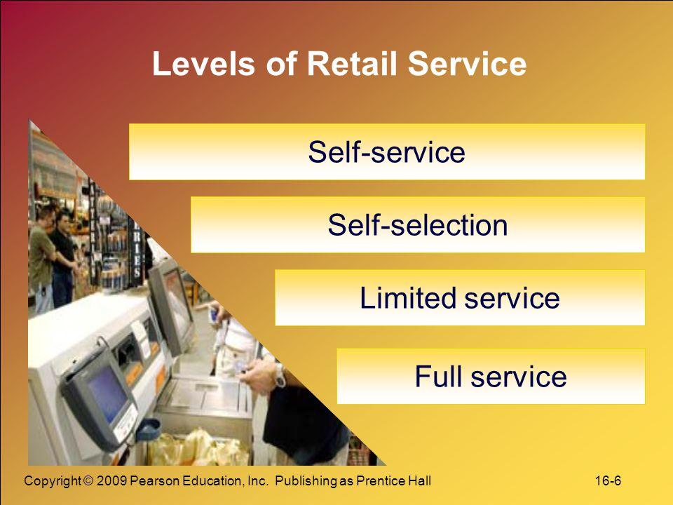 Copyright © 2009 Pearson Education, Inc. Publishing as Prentice Hall 16-6 Levels of Retail Service Self-service Self-selection Limited service Full se