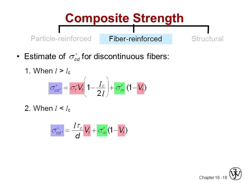 Chapter 16 - 18 Composite Strength Particle-reinforced Fiber-reinforcedStructural Estimate of for discontinuous fibers: 2. When l < l c l 1. When l >