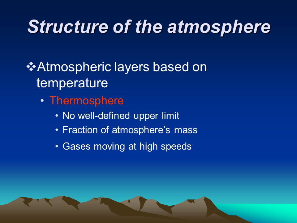Structure of the atmosphere  Atmospheric layers based on temperature Thermosphere No well-defined upper limit Fraction of atmosphere's mass Gases mov