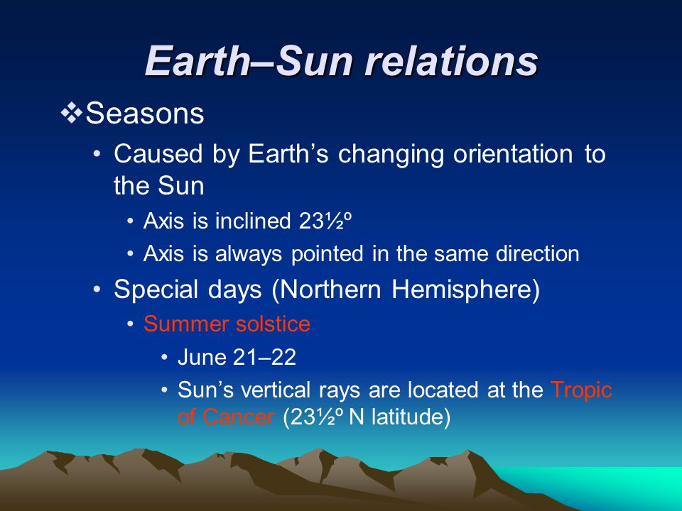 Earth–Sun relations  Seasons Caused by Earth's changing orientation to the Sun Axis is inclined 23½º Axis is always pointed in the same direction Spe