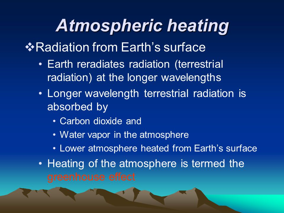 Atmospheric heating  Radiation from Earth's surface Earth reradiates radiation (terrestrial radiation) at the longer wavelengths Longer wavelength te
