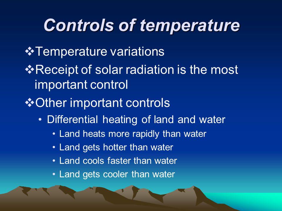 Controls of temperature  Temperature variations  Receipt of solar radiation is the most important control  Other important controls Differential he