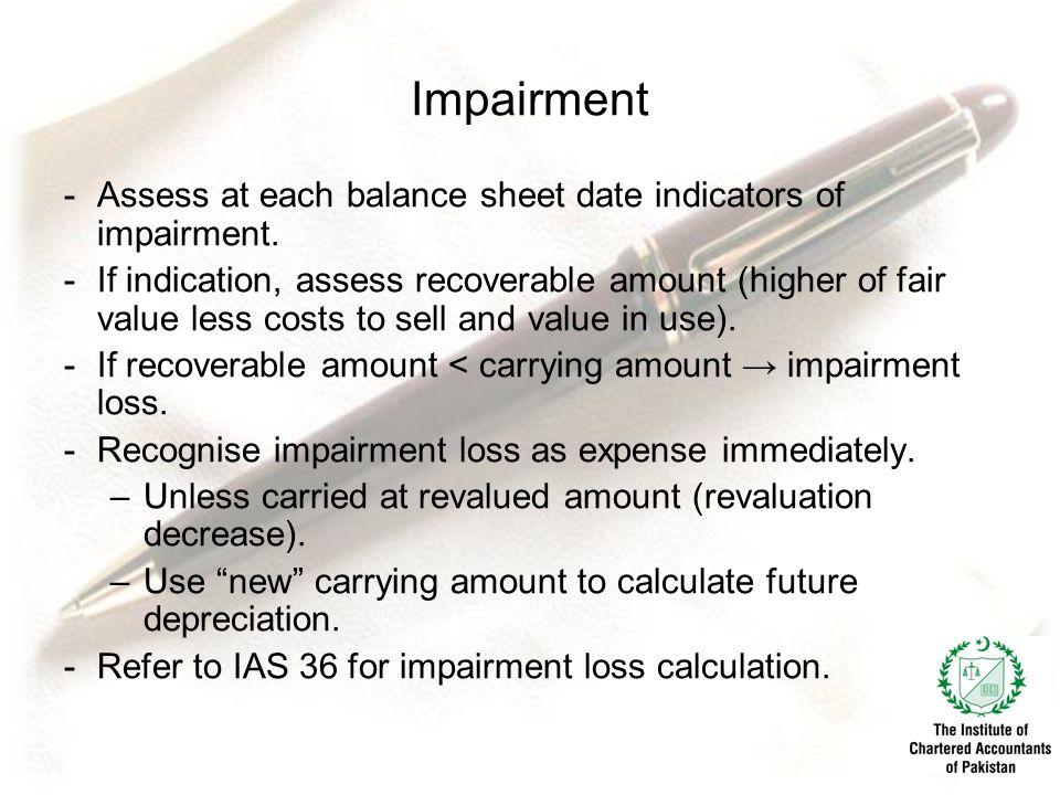 Impairment -Assess at each balance sheet date indicators of impairment.