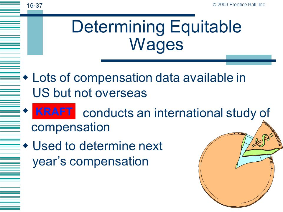 16-36 © 2003 Prentice Hall, Inc. International Compensation  Determining international pay scales is no easy task  Expensive locales require additio
