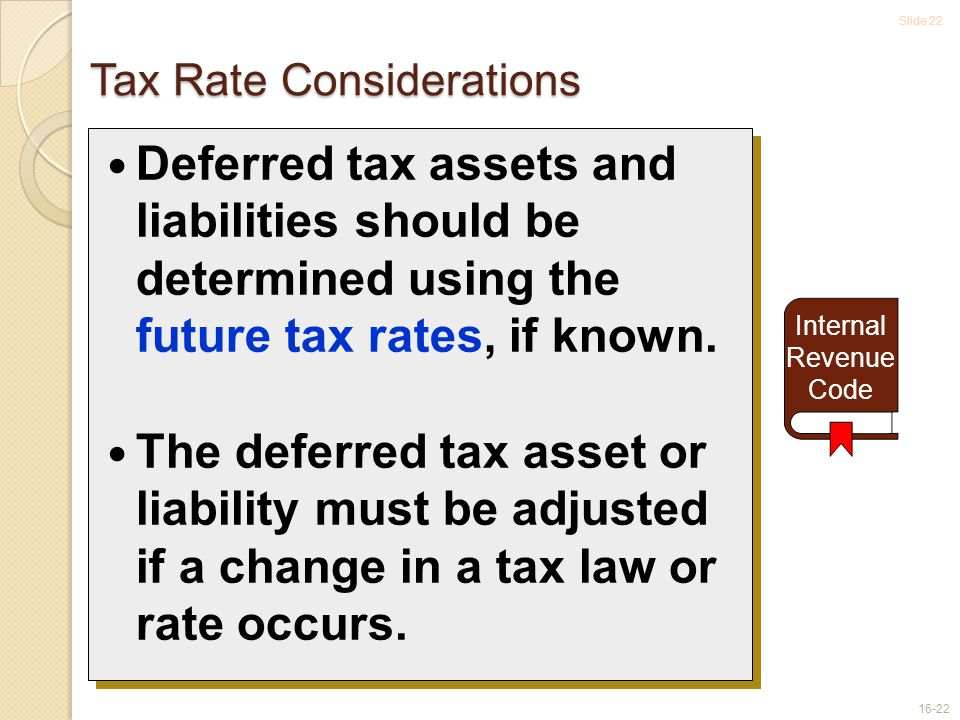 Slide 22 16-22 Tax Rate Considerations Deferred tax assets and liabilities should be determined using the future tax rates, if known.