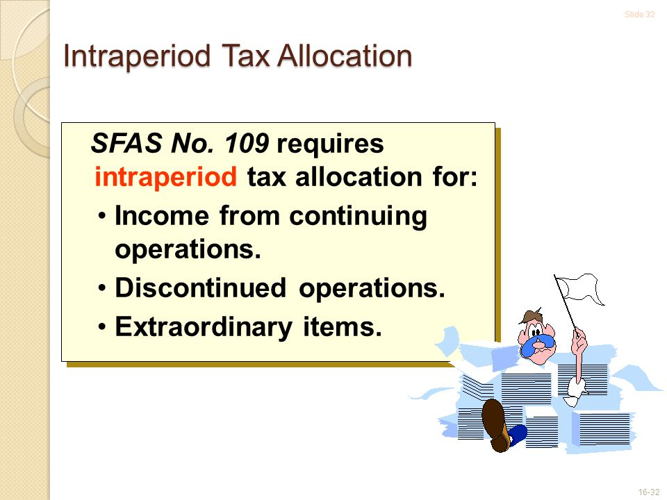 Slide 32 16-32 Intraperiod Tax Allocation SFAS No.
