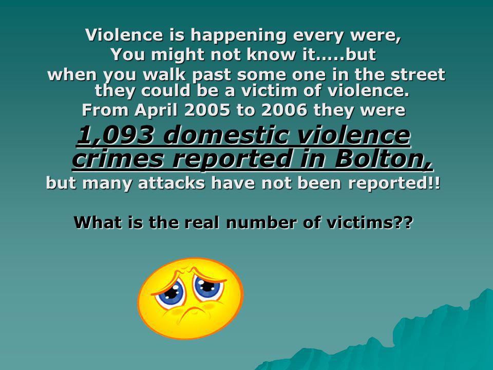Violence is happening every were, You might not know it…..but when you walk past some one in the street they could be a victim of violence.