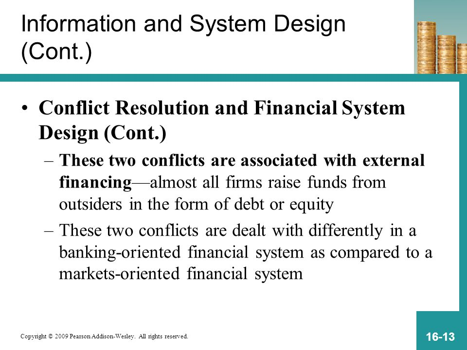 Copyright © 2009 Pearson Addison-Wesley. All rights reserved. 16-13 Information and System Design (Cont.) Conflict Resolution and Financial System Des