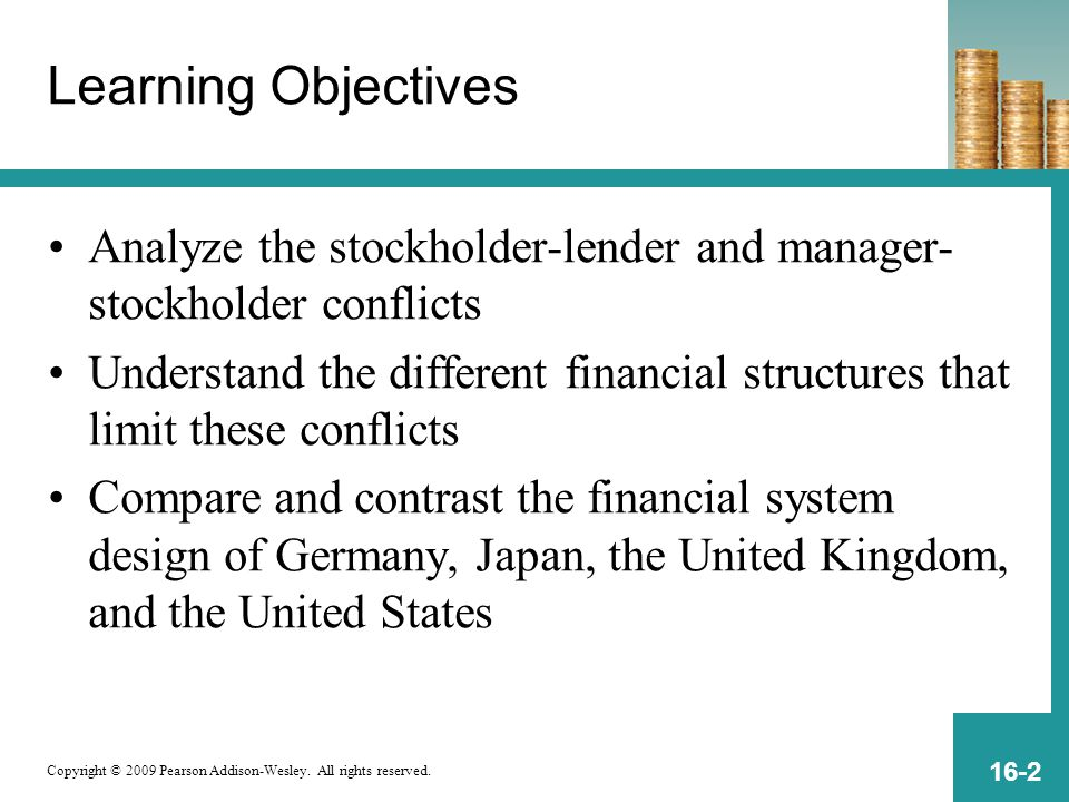 Copyright © 2009 Pearson Addison-Wesley. All rights reserved. 16-2 Learning Objectives Analyze the stockholder-lender and manager- stockholder conflic