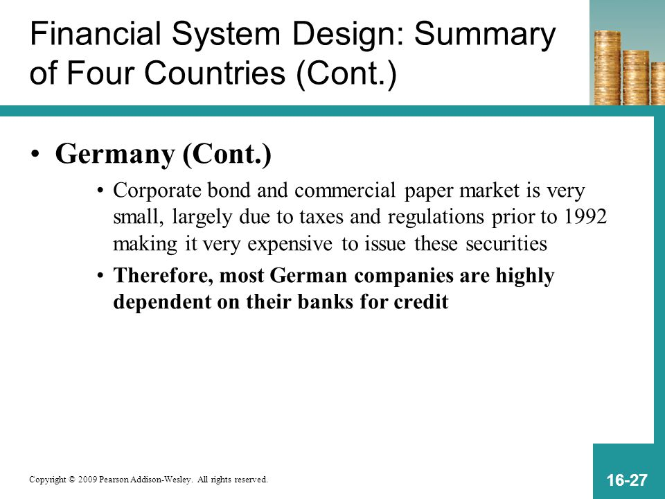 Copyright © 2009 Pearson Addison-Wesley. All rights reserved. 16-27 Financial System Design: Summary of Four Countries (Cont.) Germany (Cont.) Corpora