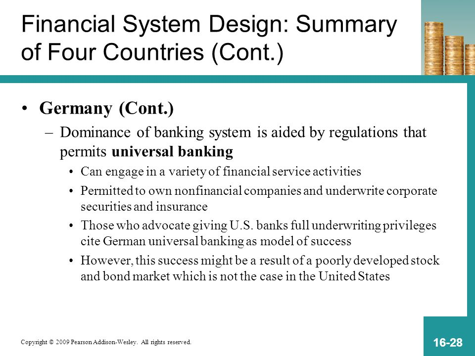 Copyright © 2009 Pearson Addison-Wesley. All rights reserved. 16-28 Financial System Design: Summary of Four Countries (Cont.) Germany (Cont.) –Domina