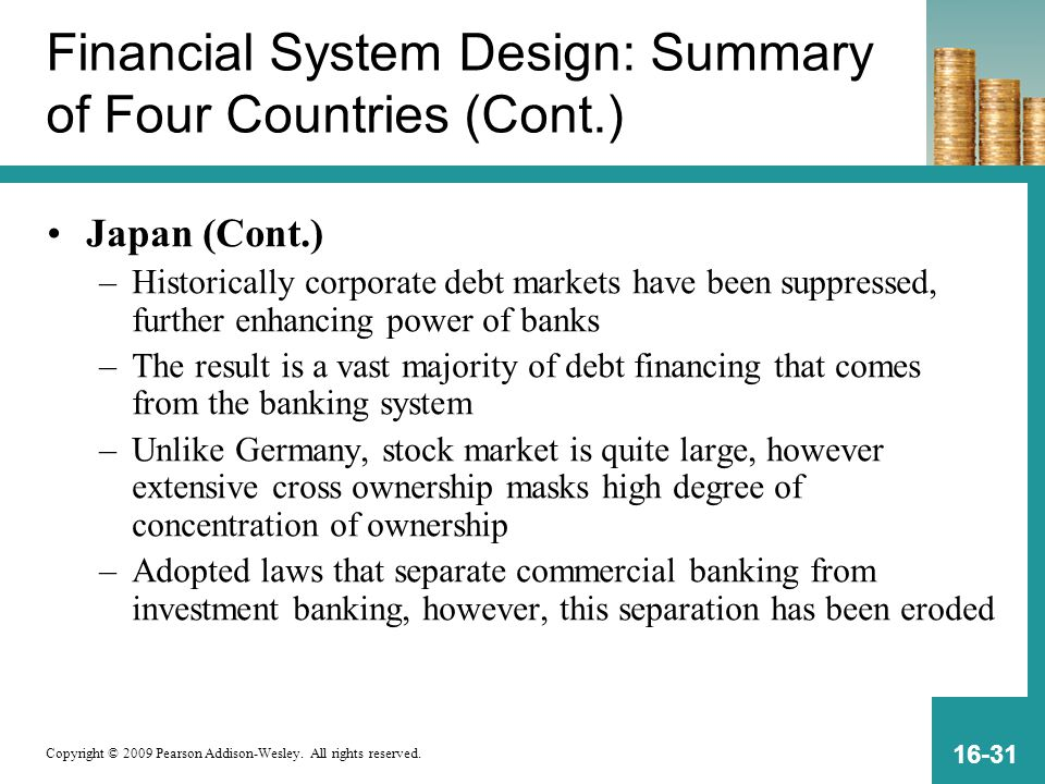 Copyright © 2009 Pearson Addison-Wesley. All rights reserved. 16-31 Financial System Design: Summary of Four Countries (Cont.) Japan (Cont.) –Historic