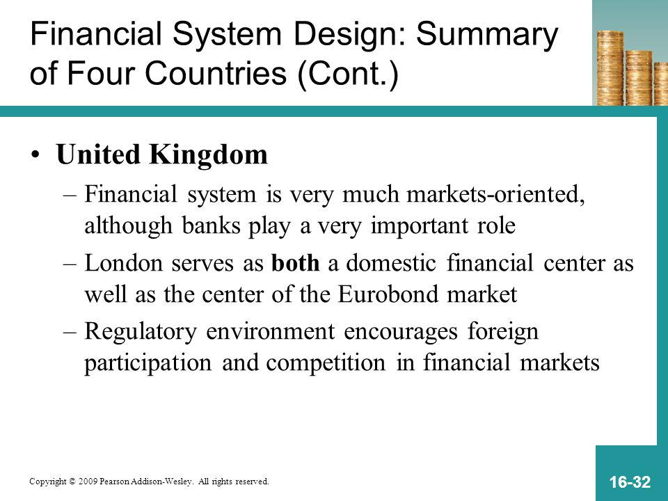 Copyright © 2009 Pearson Addison-Wesley. All rights reserved. 16-32 Financial System Design: Summary of Four Countries (Cont.) United Kingdom –Financi