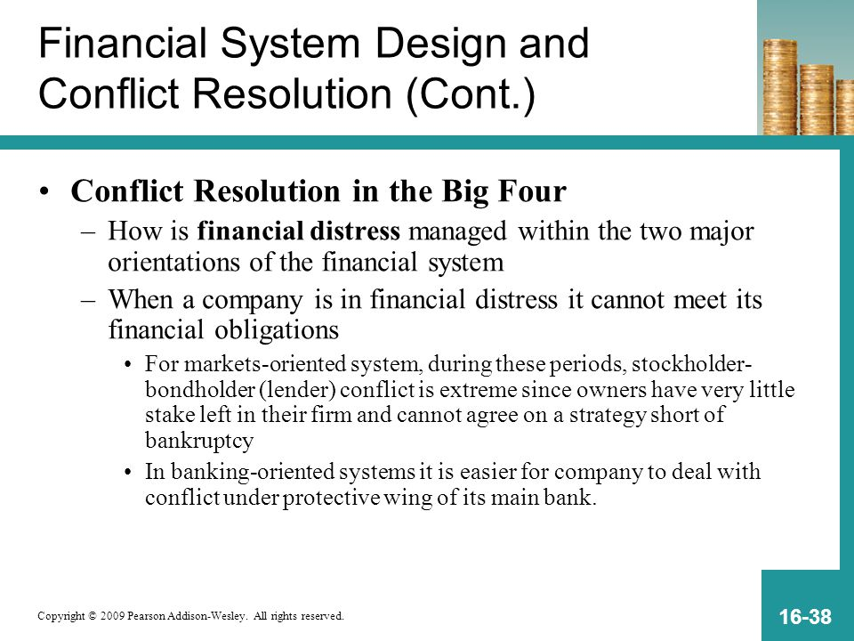 Copyright © 2009 Pearson Addison-Wesley. All rights reserved. 16-38 Financial System Design and Conflict Resolution (Cont.) Conflict Resolution in the