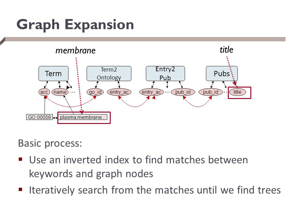Graph Expansion Basic process:  Use an inverted index to find matches between keywords and graph nodes  Iteratively search from the matches until we find trees Term Term2 Ontology Entry2 Pub Pubs accname...