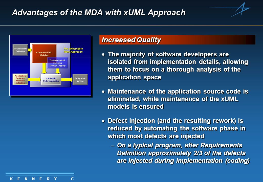 K E N N E D Y C A R T E R Advantages of the MDA with xUML Approach  The majority of software developers are isolated from implementation details, allowing them to focus on a thorough analysis of the application space  Maintenance of the application source code is eliminated, while maintenance of the xUML models is ensured  Defect injection (and the resulting rework) is reduced by automating the software phase in which most defects are injected  On a typical program, after Requirements Definition approximately 2/3 of the defects are injected during implementation (coding) Increased Quality