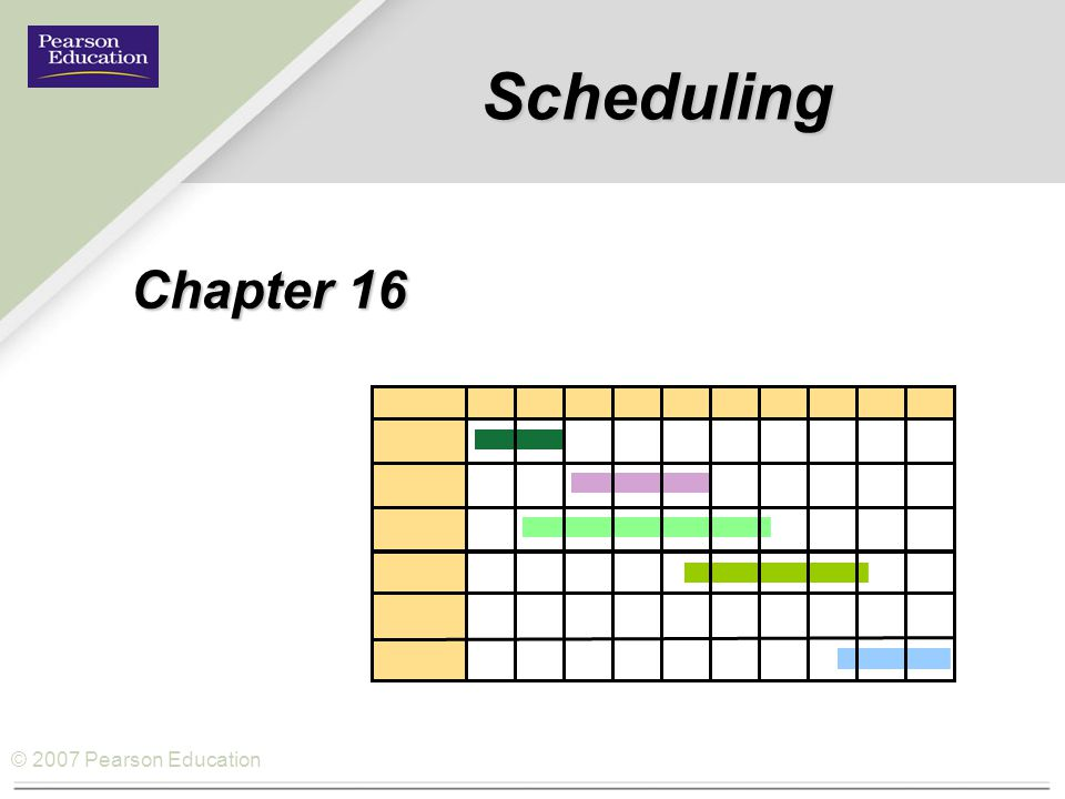 © 2007 Pearson Education Scheduling Chapter 16