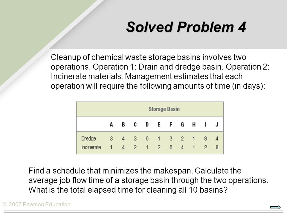 © 2007 Pearson Education Cleanup of chemical waste storage basins involves two operations. Operation 1: Drain and dredge basin. Operation 2: Incinerat