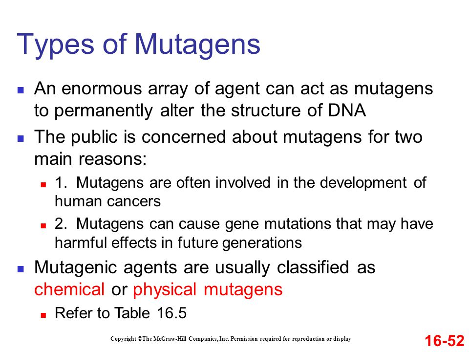 Copyright ©The McGraw-Hill Companies, Inc. Permission required for reproduction or display An enormous array of agent can act as mutagens to permanent