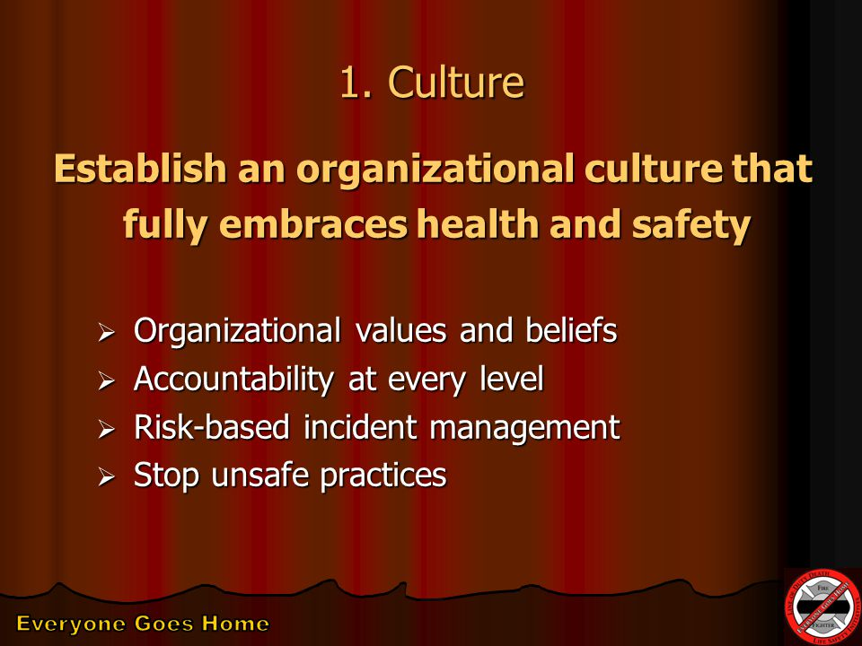 1. Culture Establish an organizational culture that fully embraces health and safety fully embraces health and safety  Organizational values and beli