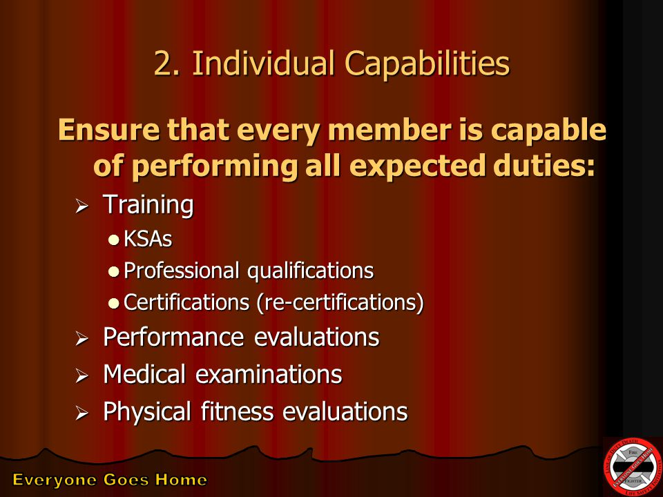 2. Individual Capabilities Ensure that every member is capable of performing all expected duties:  Training KSAs KSAs Professional qualifications Pro